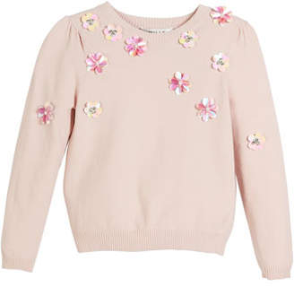 Milly Minis Beaded Floral Pullover Sweater, Size 8-16