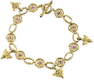 Konstantino 18k Yellow Gold Bee Bracelet w/ Sapphires