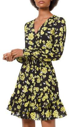 2b70ab017be MICHAEL Michael Kors Floral-Print Long-Sleeve Ruffle Mini Dress