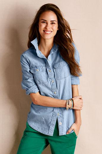 Women's Long Sleeve Chambray Shirt
