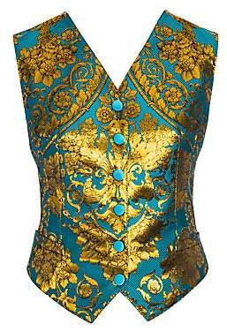 Dolce & Gabbana Women's Jacquard Metallic Floral Stretch-Silk Vest