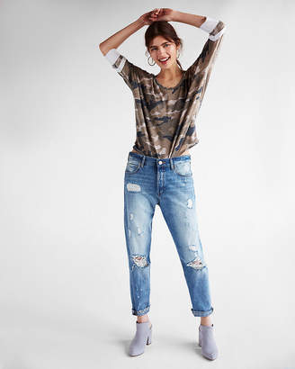 Express Petite One Eleven Camo Burnout Relaxed Dolman Tee