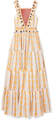 Dodo Bar Or Tiered Crochet-trimmed Cotton-jacquard Maxi Dress - Yellow