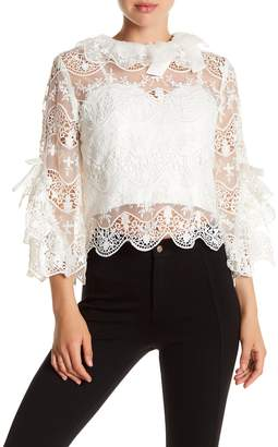 Gracia Bell Sleeve Crochet Lace Mesh Blouse