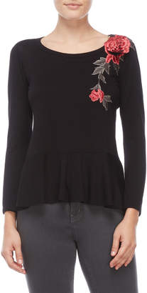Chenault Petite Embroidered Rose Peplum Top