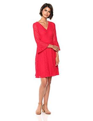 Nine West Women's Lace 3/4 Bell Sleeve V-Neck Fit & Flare Dress