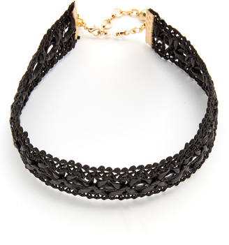 Vanessa Mooney Leather Lace Choker Necklace $44 thestylecure.com