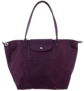 Longchamp Leather Trim Le Pliage Cuir Tote
