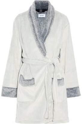 DKNY Printed Two-Tone Fleece Robe