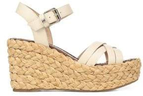 Sam Edelman Women's Darline Leather Platform Wedge Espadrilles - Ivory - Size 10