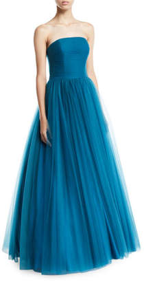 Badgley Mischka Strapless Tulle Ball Gown