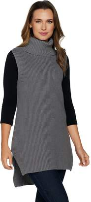 Denim & Co. Rib Turtleneck Sleeveless Tunic w/ High Low Hem