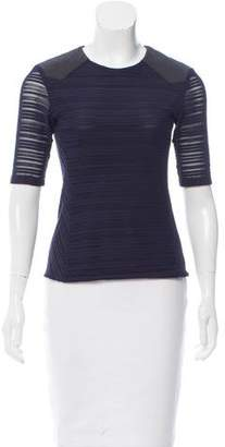 Rag & Bone Leather-Trimmed Open Knit Top