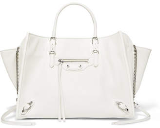 Balenciaga Papier A6 Textured-leather Tote - White