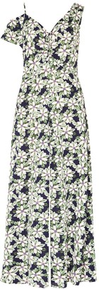 Floral Asymmetric Shoulder Jumpsuit With Gathered Details In Green Navy Floral