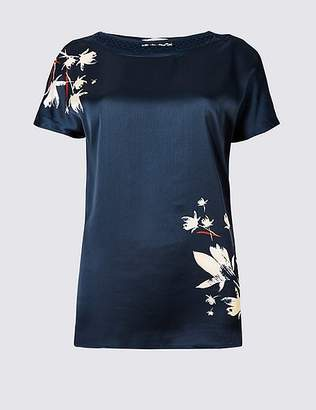 Marks and Spencer Floral Print Woven Front Short Sleeve Top
