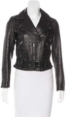 Linea Pelle Stud-Embellished Leather Moto Jacket