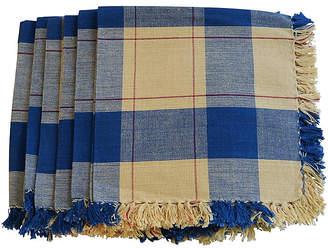 One Kings Lane Vintage Blue & Yellow Plaid Linen Napkins