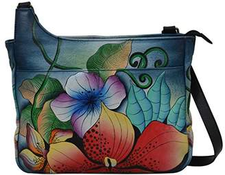 Anuschka Anna by Women's Genuine Leather Medium Asymmetric Dual Pocket Cross Body| Hand Painted Original Artwork |