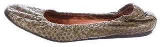 Lanvin Snakeskin Round-Toe Flats