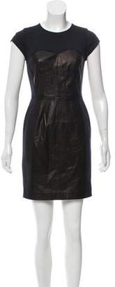 Rebecca Taylor Leather-Accented Bodycon Dress