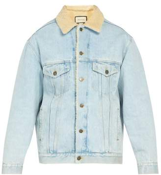 Gucci Paramount Embroidered Denim Jacket - Mens - Blue