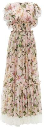 Dolce & Gabbana Shirred Lilium Print Silk Blend Chiffon Gown - Womens - Pink Multi