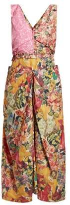 Marni Panelled Floral Print Waxed Poplin Dress - Womens - Pink Multi