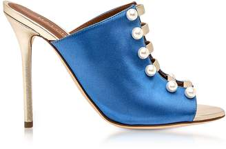 Malone Souliers By Roy Luwolt Zada Blue and Platinum Satin High Heel Mules