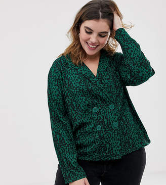 Influence Plus animal print blazer blouse with button detail