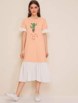 Shein Cartoon Print Colorblock Ruffle Hem Tee Dress
