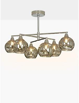 af314cb85146 John Lewis & Partners Susa Semi Flush, 6 Arm Smoked Glass Ceiling Light,  Chrome