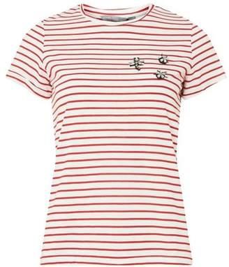 Dorothy Perkins Womens Petite Red Embellished Stripe Print T-Shirt
