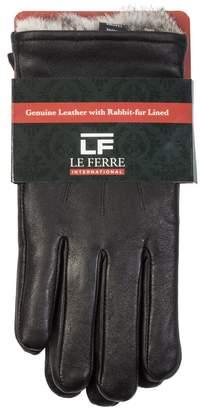 Gianfranco Ferre Le International MEN'S LUXURY RABBIT FUR LINED GENUINE LEATHER GLOVES