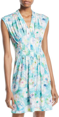 Catherine Malandrino Floral Pleated-Front Mini Dress
