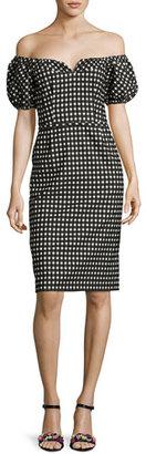 Nanette Lepore Cheeky Off-the-Shoulder Check Sheath Dress, Black $448 thestylecure.com
