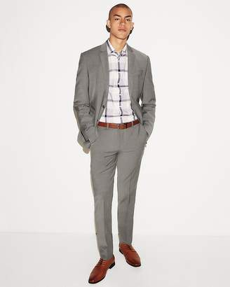Express Slim Gray Check Wool-Blend Performance Stretch Suit Pant