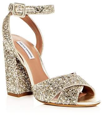 Tabitha Simmons Women's Connie Glitter Ankle Strap High Block Heel Sandals
