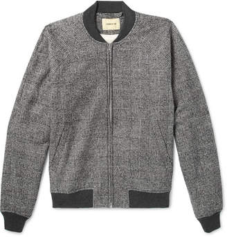 De Bonne Facture Prince Of Wales Checked Brushed Cotton And Wool-Blend Bomber Jacket