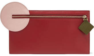 Roksanda Color-block Leather Pouch - Burgundy