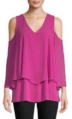 Ellen Tracy Double-Layered Cold-Shoulder Top