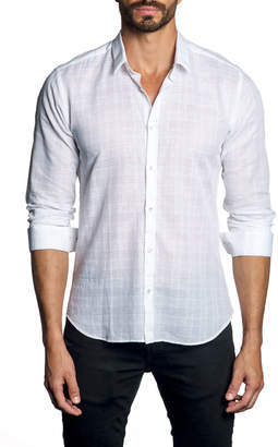 Jared Lang Men's Check Gauze Long-Sleeve Button-Down Cotton Shirt