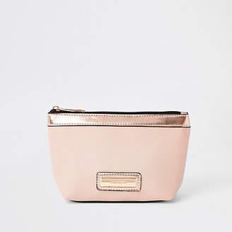 River Island Pink metallic panel makeup bag