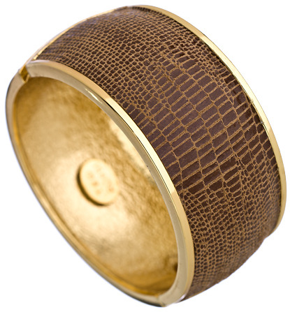 Ted Rossi Gold And Faux Lizard Bangle Bracelet