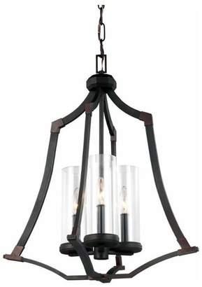 Feiss Jacksboro 3-Light Foyer Chandelier, Dark Antique Copper, Antique Copper