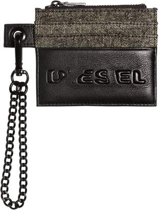 Diesel Logo Leather & Denim Card Holder