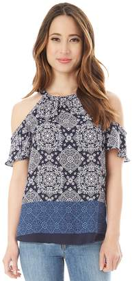 Iz Byer Juniors' Printed Ruffled Cold-Shoulder Top