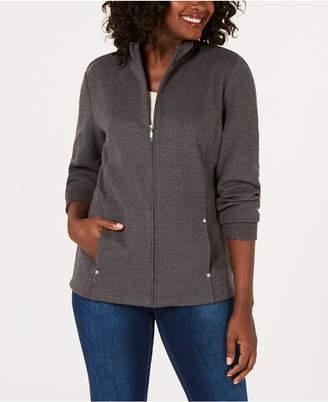 Karen Scott Casual Zip-Front Jacket, Created for Macy's