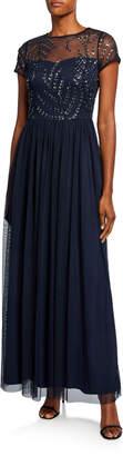 Marina Illusion Beaded Cap Sleeve Gown