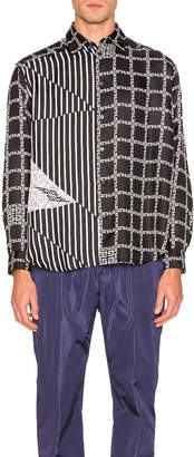 Givenchy Chains & 4G Stripe Print Shirt in Black & White | FWRD